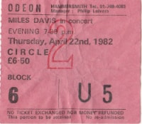 Miles 1982 gig ticket