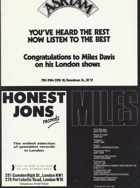 Miles Davis 16-page colour 1982 concert programme page 5