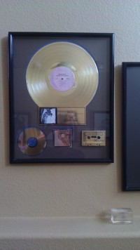 Randy Hall Gold Record award