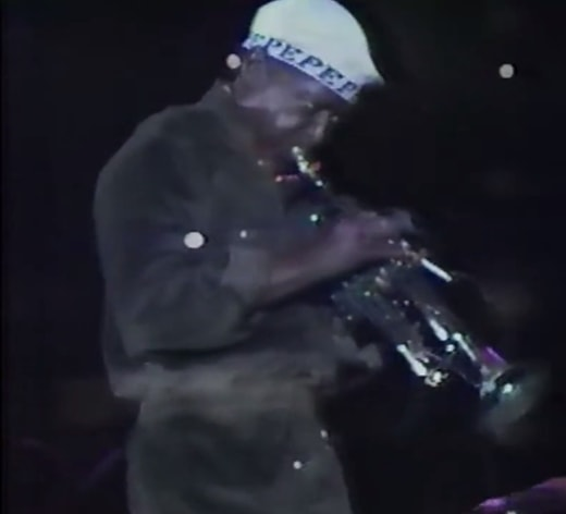Miles with horn and cigarette in Tokyo, October 1981